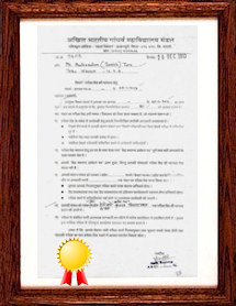 Tabla Niketan has received ABGMV's afflilation to conduct  exams till Visharad